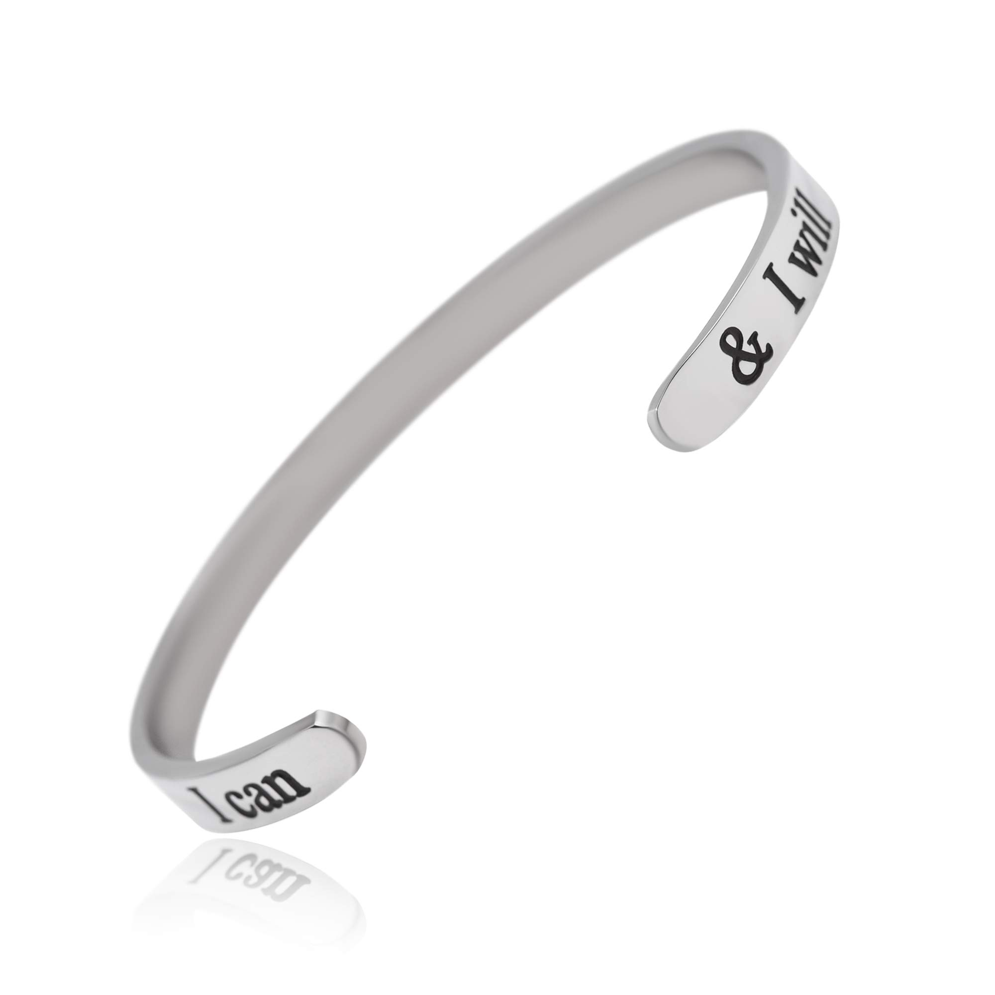 Silver Engraved Bracelet (I can I will(