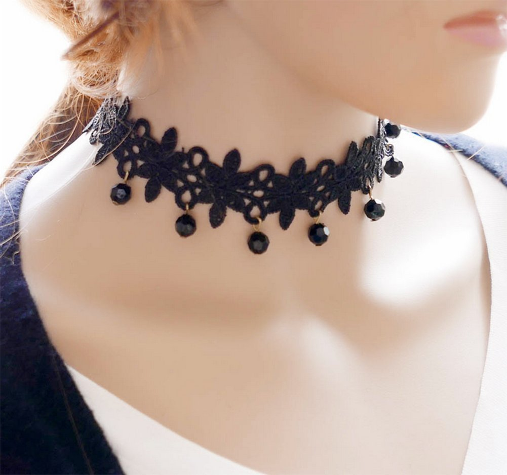 Hosaire Choker for Women Girls, Black Classic Lace Beads Pendant Short Necklace-BEST DECORATION for Summer Dress