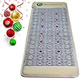 Infrared Heating Mat European 220 Volt |6 PEMF Coils, 12 Photon LEDs, Natural Amethyst, Jade & Tourmaline Ceramic (Full-Body Firm) 72″ x 24″ |Relieve Pain, Sore Muscles, Arthritis and Injury Recovery