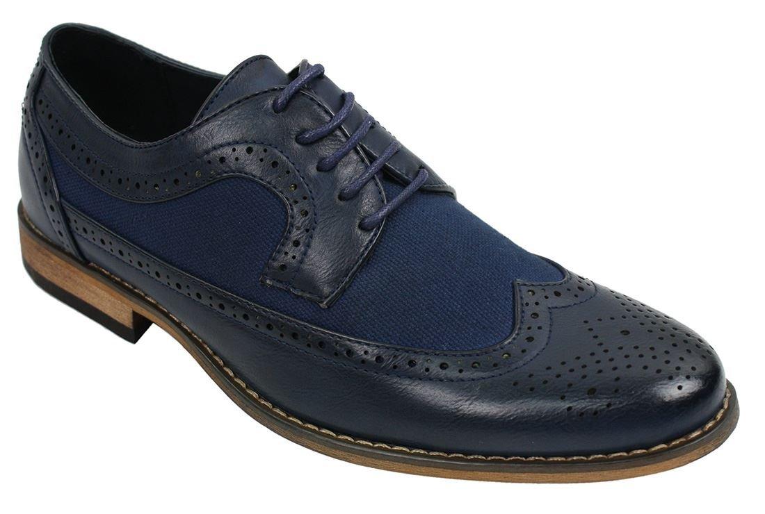 Herrenschuhe Blau Braun Schwarz Brogues Lederfutter Italienisches Design  Retro Stil: Amazon.de: Schuhe & Handtaschen