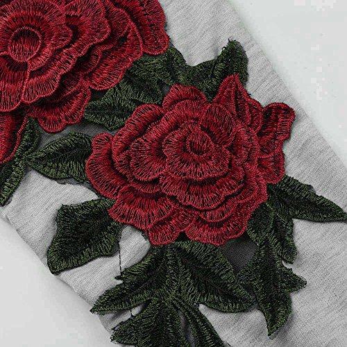 LEvifun Donna Camicetta Elegante Maglietta Felpe Manica Lunga Ricamo Fiori Girocollo Pullover Casuale Tops Sweatshirt