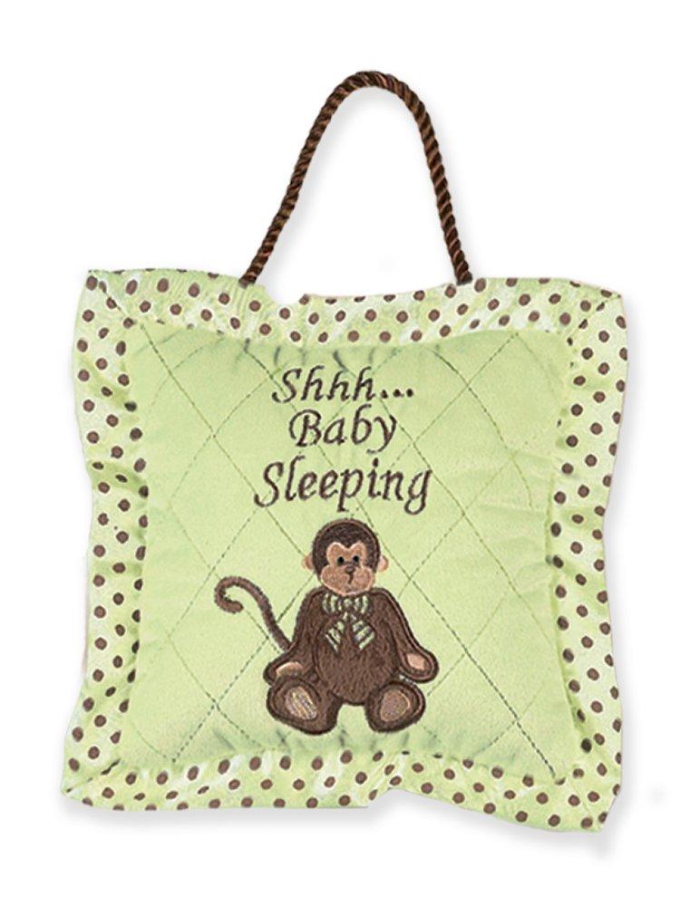 Bearington Little Giggles Monkey Baby Sleeping Green Door Pillow 7.5' x 7.5' Bearington Collection 1204