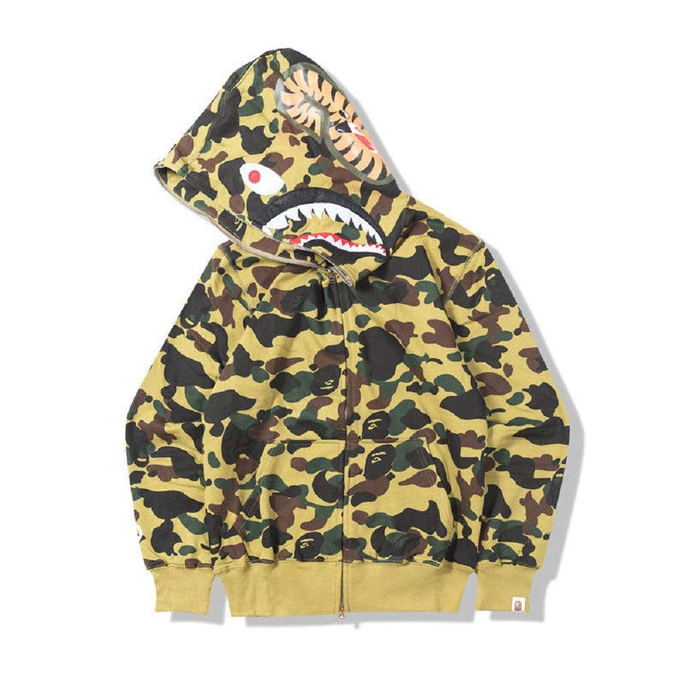 ab7ad584b7ca New Bathing Ape Bape Shark Jaw Camo Full Zipper Hoodie Men s Sweats Coat  Jacket (Green