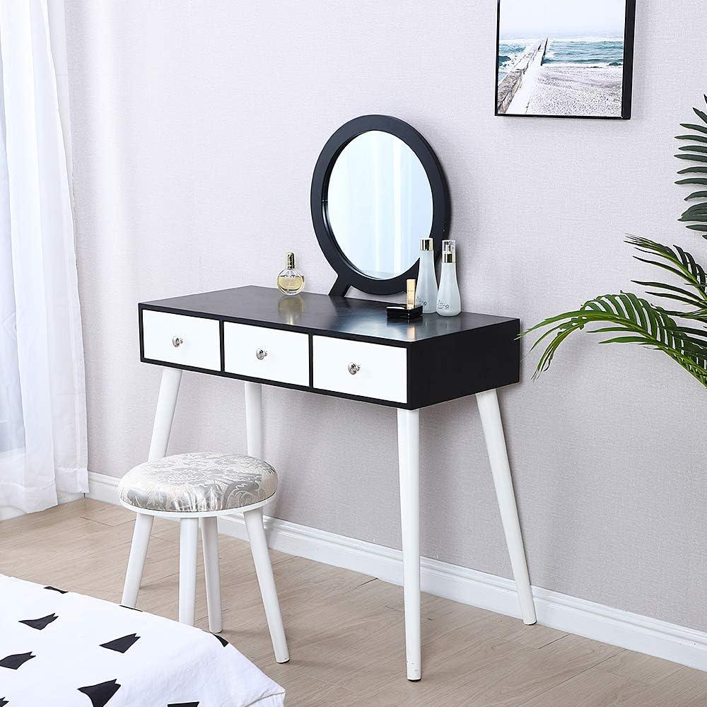 Bianco, 80 x 40 x 125 CM con Specchio Rimovibile e Sgabello Trucco a 2 cassetti Grandi e binari per Camera da Letto YJIIJY Tavolo da Toletta Corridoio