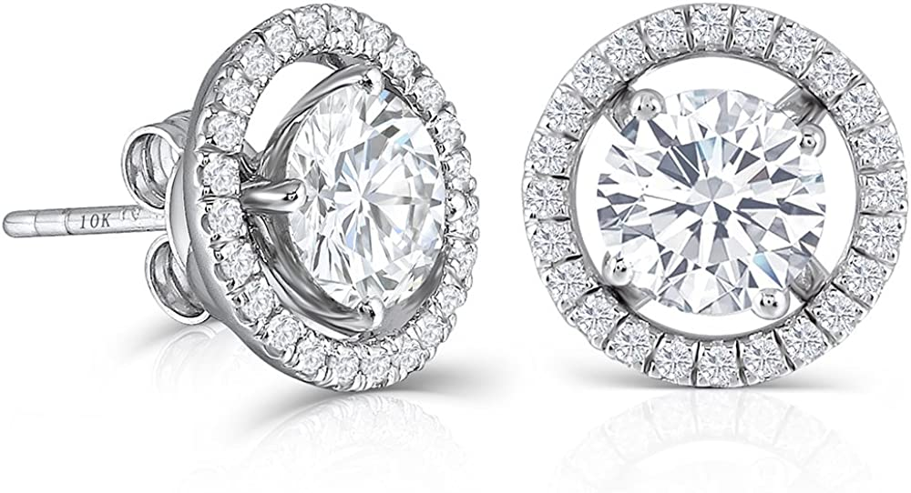 DovEggs 10K White Gold Post 2ct 6.5mm G-H-I Color Created Moissanite Stud Earring with Jackets Platinum Plated Silver Push Back