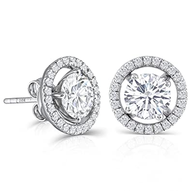 25147e1f7 10K White Gold Post 2ct 6.5mm H-I Color Created Moissanite Stud Earring  with Jackets Platinum