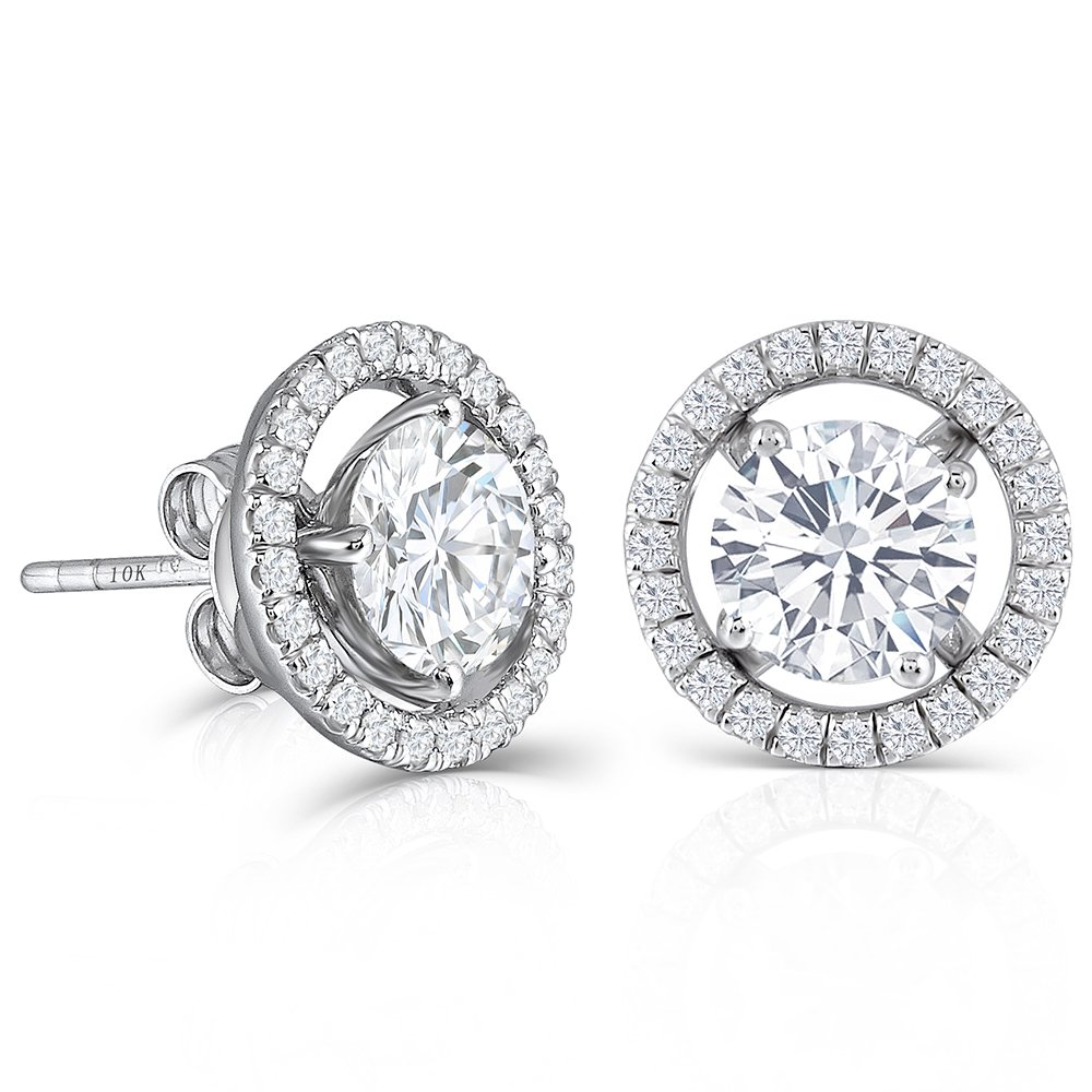 DovEggs 10K White Gold Post 2ct 6.5mm H-I Color Created Moissanite Stud Earring with Jackets Platinum Plated Silver Push Back