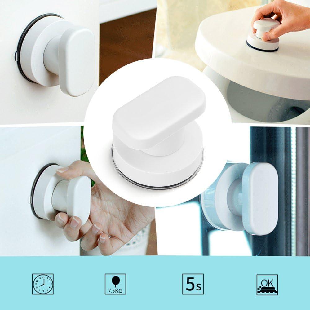 T/ürgriff f/ür Toilette und Badezimmer 6,6 * 6,4 * 5 cm Blingbin Starker Saugnapfgriff T/ürgriff f/ür Schubladenschrank