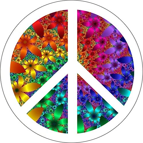 (Peace Sign Over Colorful Fractal Flowers - Button/Pinback)