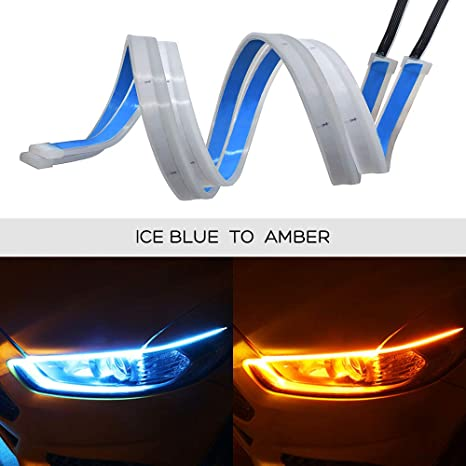 Ceyes Drl Led Light Strip Super Bright Waterproof 12v Headlight Led Tube Car Interior Exterior Decoration Lamp Running Light Turn Signal Light 2pcs