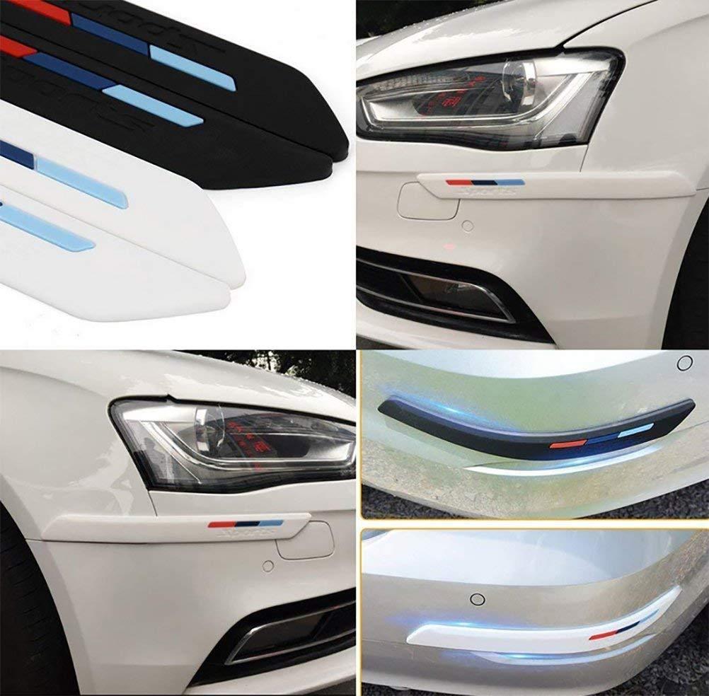 Decorative 2PCS Strisce di Protezione in Gel di Silice per Paraurti Auto White