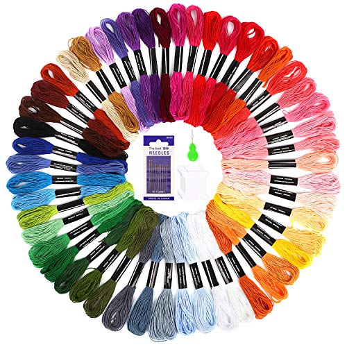 Embroidery Floss Skein - SOLEDI Embroidery Floss Thread Craft Floss Set for Friendship Bracelets 50 Skeins Rainbow Colors with Embroidery Tools