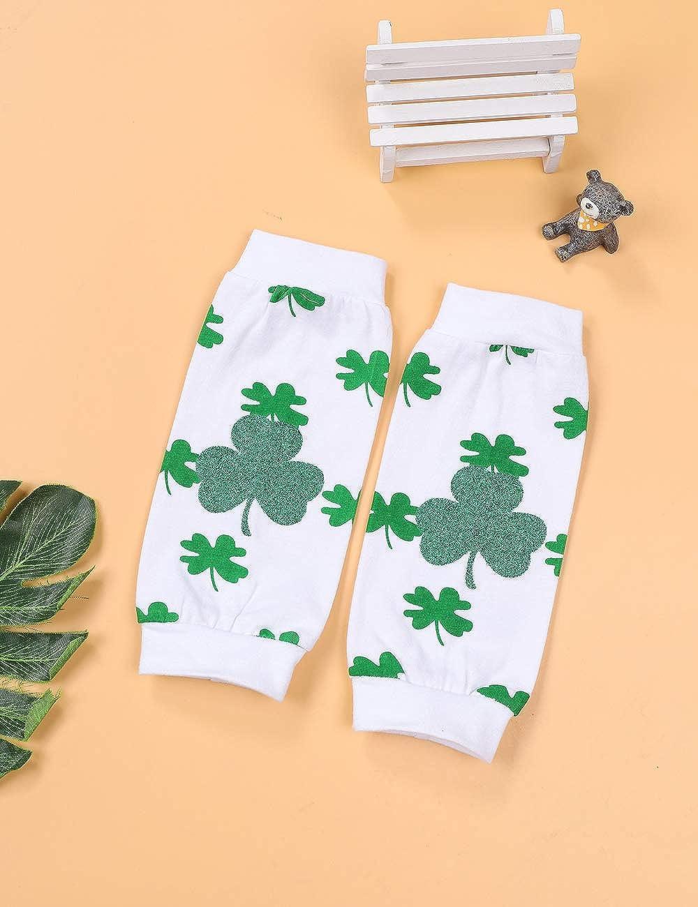 St.Patricks Day Newborn Baby Girl Outfit Romper Top Short+Shamrock Leg Warmers+Headband Set