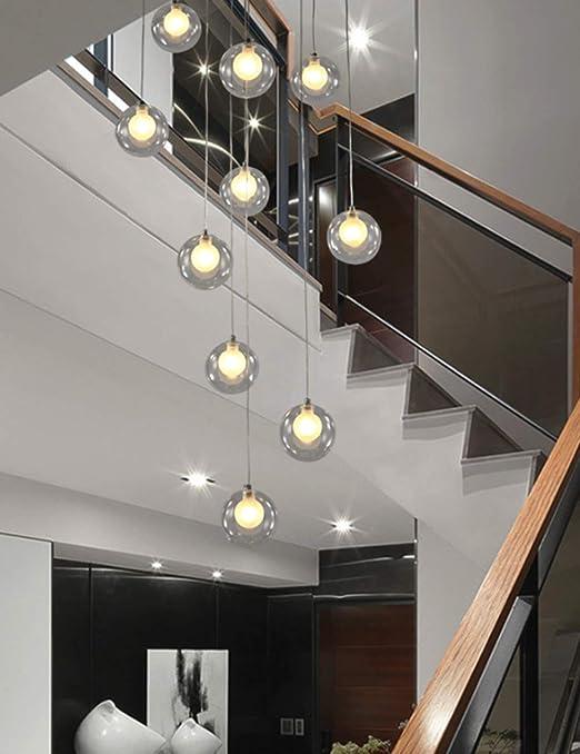 Candelabros de la escalera 12 bolas de vidrio luces múltiples luces creativas modernas sala de estar luz de cristal burbujas villa lámpara de techo dúplex apartamento en espiral escalera larga araña,: Amazon.es: