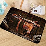 Western Decor Collection Area Rug Rodeo Cowboy Leather Western Saddle on Wood Beam in Rustic Ranch Wood Barn Picture Anti-Static W67 x L78 Dark Brown