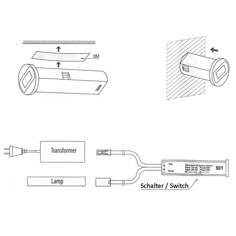 SO-TECH/® Mini-Senseur D/étecteur de Mouvement S/éteint via Mouvement de Main Interrupteur