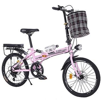 LETFF Bicicleta Plegable para Adultos de 20 Pulgadas de Velocidad de Estudiante para Hombre y Mujer
