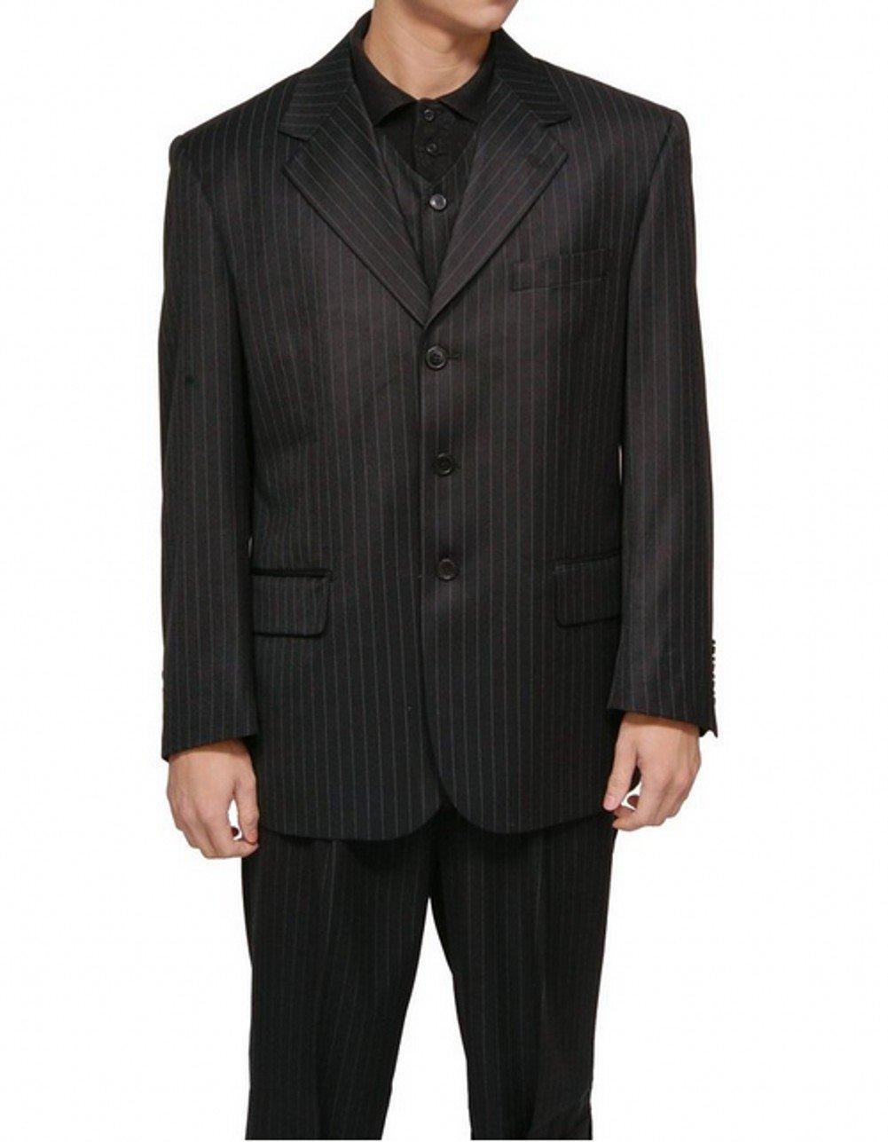 Love Dress Men's 3 Piece Black Gangster Pinstripe Dress Suit with Matching Vest 4XL