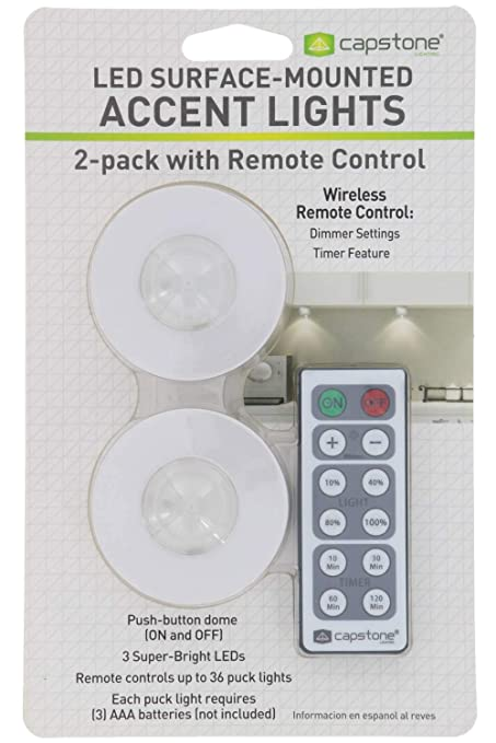 Capstone Wireless LED Surface-Mounted Accent Lights - Push Button Dome with Adhesive Tape &