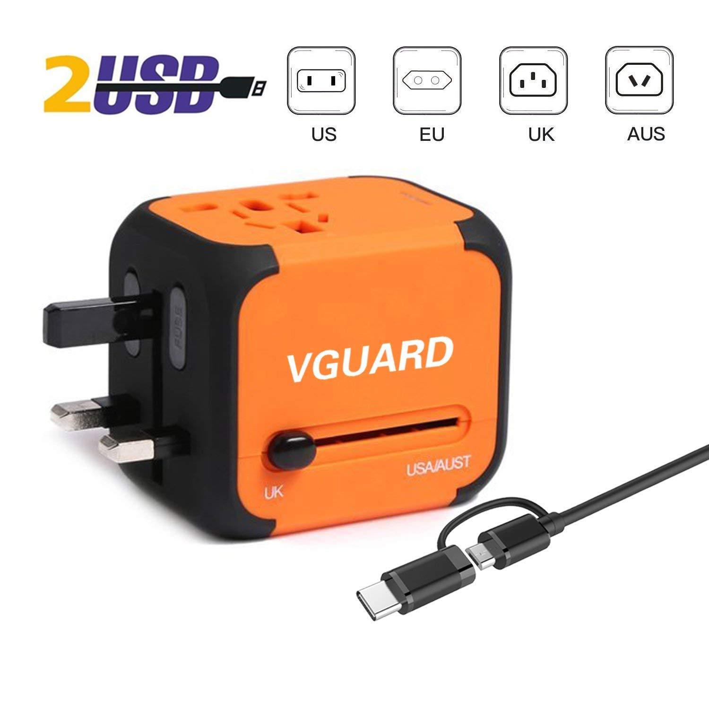 Blanc fusible de Rechange VGUARD Adaptateur de Voyage avec 2 USB Adaptateur Universel Pris de Courant pour UE//US//UK//AUS Utilis/é dans Plus de 150 Pays Adaptateur Chargeur avec Deux fusible