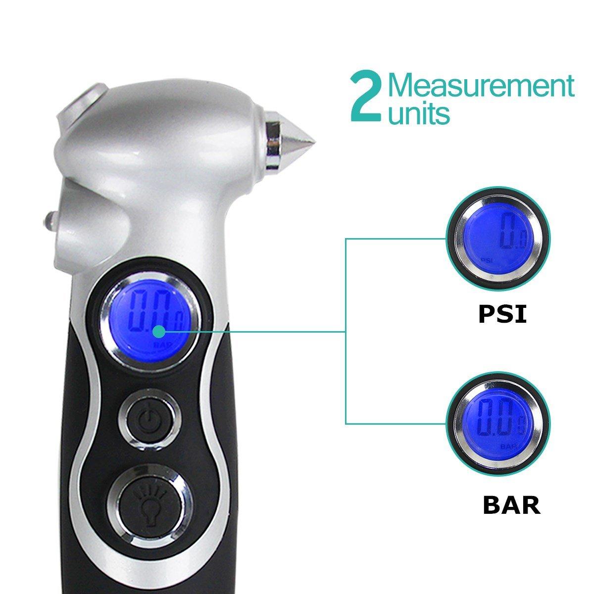 Reifendruckprüfer Digital Luftdruckprüfer Reifendruckmesser mit Reifendruck LCD Display für LKW Fahrräder Motorräder Autos