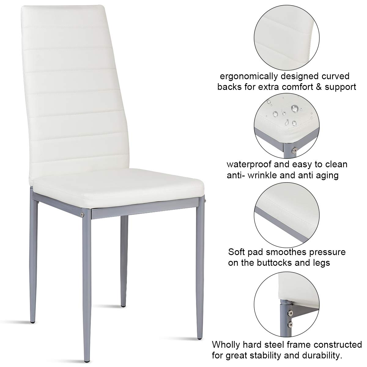 Giantex Set of 4 PU Leather Dining Side Chairs with Padded Seat Foot Cap Protection Stable Frame Heavy Duty Elegant Ergonomically High Back Design for Kitchen Dining Room Home Furniture, White by Giantex (Image #6)