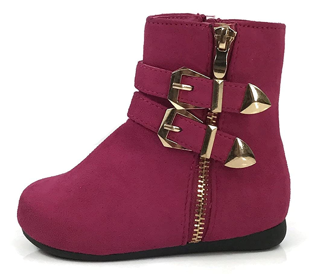 Link Girls Double Strap High Top Fashion Ankle Bootie Buckle Detail Zipper Closure