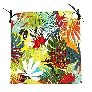 TIENDA EURASIA® Pack de 4 Cojines para Sillas – Estampado Selva Tropical – 2 Cintas de Sujeción – Ideal para Interiores y Exteriores – 40 x 40 x 3 cm (Color)