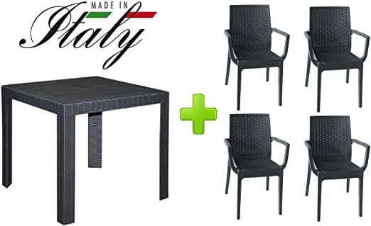 ALTIGASI Set de Jardin Table Saturno 80 x 80 cm avec 4 ...