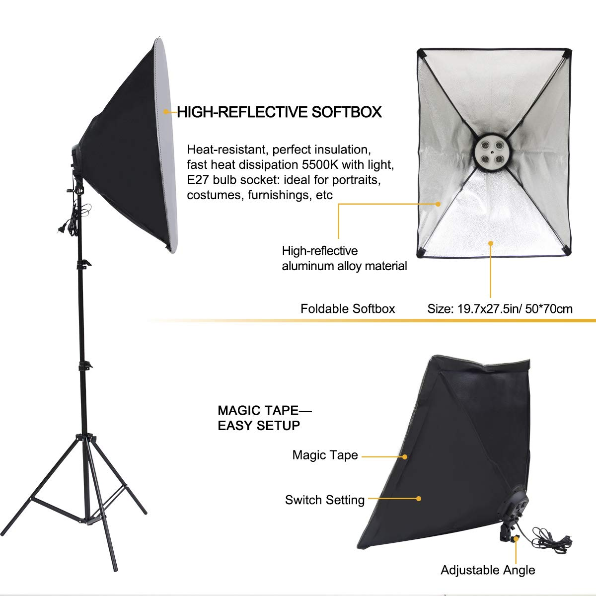 Wisamic Photography Video Studio Lighting Kit, Background Support System 10ft x 6.6ft/2MX3M with 3 Color Backdrop, 3 Umbrella, 3 Softbox, Continuous Lighting Kit for Photo Video Shooting Photography by Wisamic (Image #4)