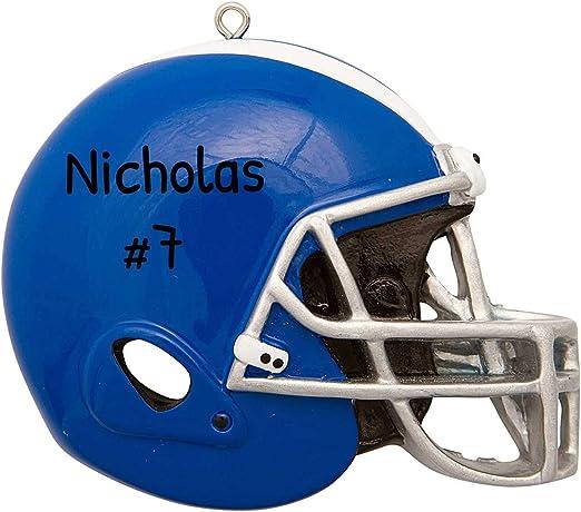 College Football Christmas 2020 Amazon.com: Personalized Blue Football Helmet Christmas Tree