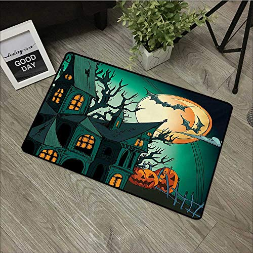 bathroom entry rugs Halloween,Haunted Medieval Cartoon Style Bats in Twilight Gothic Fiction Spooky Art Print,Orange Teal,Low Profile Door Mat - Welcome - Front Door, Garage, Patio,20