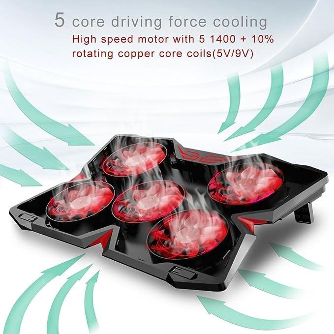 5 Ventiladores ultrasilenciosos, iluminaci/ón LED, 2 USB Rojo Vanble Base de Refrigeraci/ón para Ordenador Port/átil Ventiladores Silenciosos y Potencias