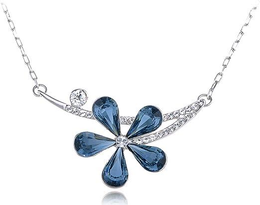 ALILANG Montana Blue Asymmetrical Solo Fragile Daisy Swarovski Crystal  Element Necklace