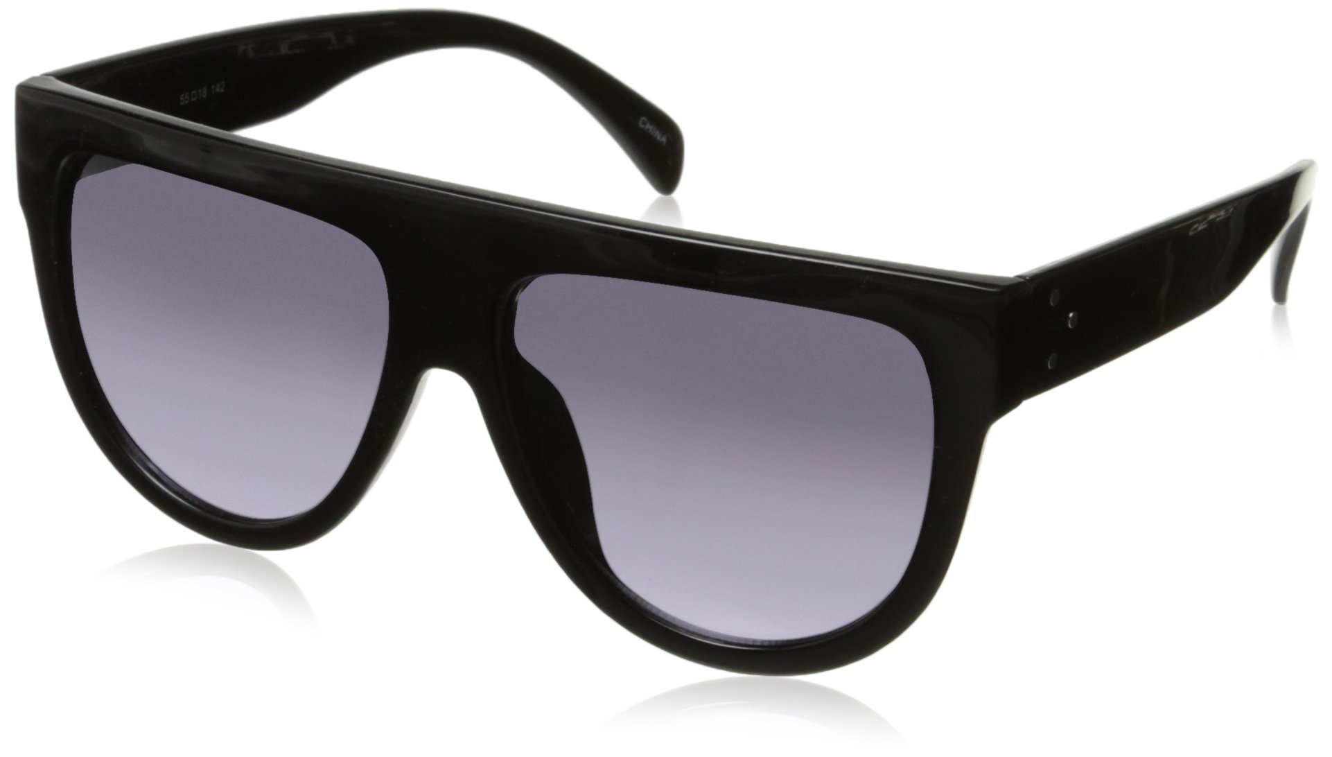 zeroUV Large Oversize Wide Temple Flat Top Aviator Sunglasses, Shiny Black/Lavender, 57 mm