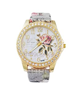 Loweryeah Women Casual Watch Flower Print Rhinestone Around Dial Quartz Watch with Artificial Leather Strap Band(Grey)