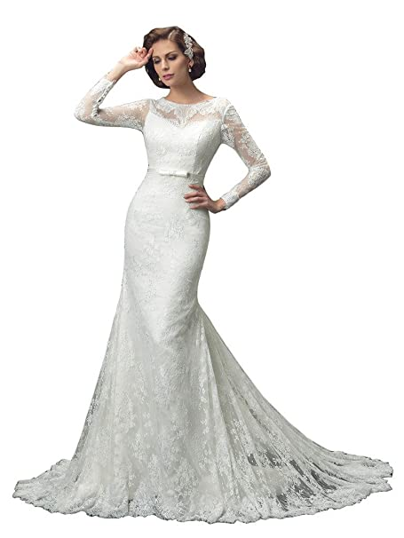 Broybuy - Vestido de novia - Manga Larga - Mujer beige 38