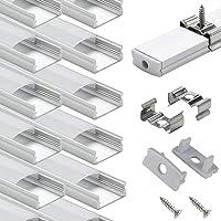 StarlandLed Ledrailprofiel, aluminium, 10 × 1 m, U-vormige ledprofiel, met afdekking, eindkappen en montageclips voor…