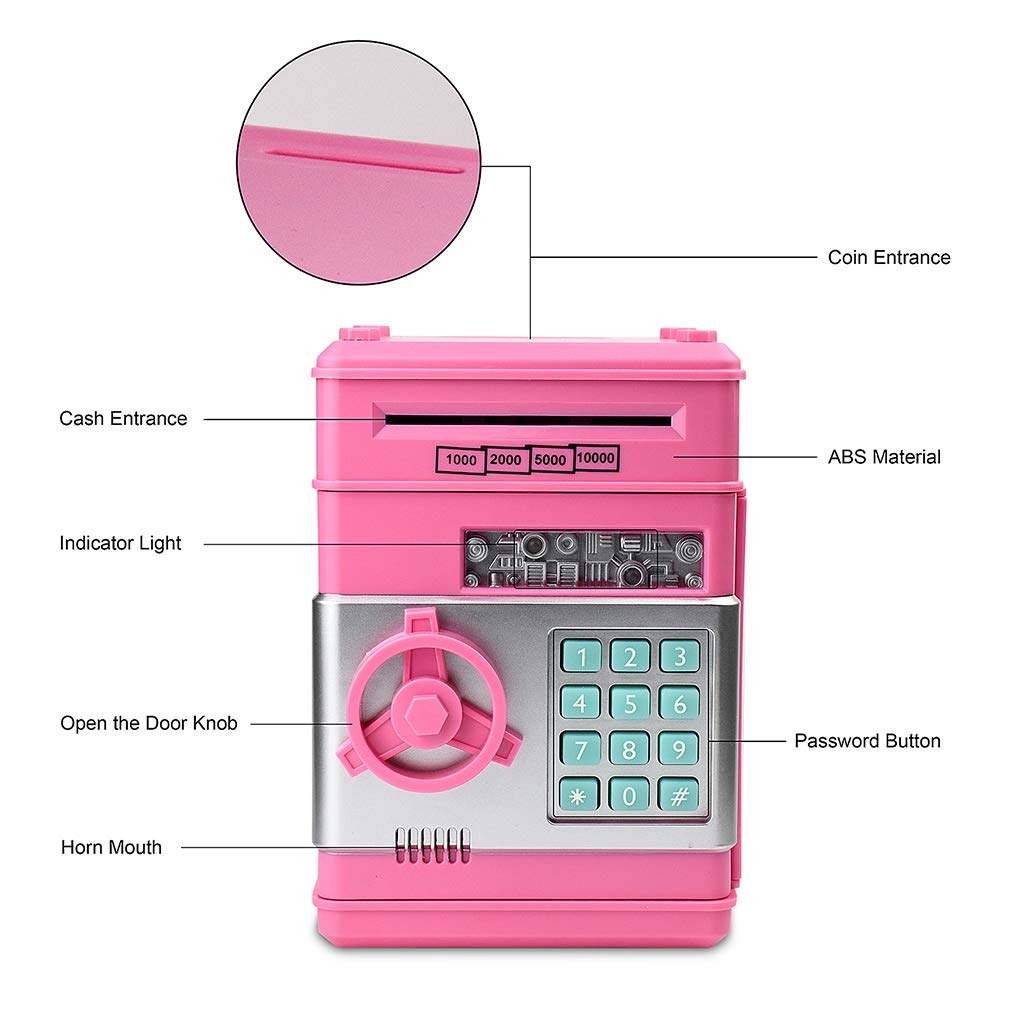 Satevin Piggy Bank, Electronic ATM Password Cash Coin Can Auto Scroll Paper Money Saving Box Toy Gift for Kids by Satevin (Image #4)