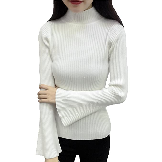 AINIMI Camisa De Pagoda Sexy Para Mujer Jersey De Jersey De Punto Suelto  Suéter De Cuello Tortuga Tops Multicolor de190e5dfd7b