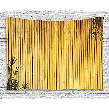 Bamboo Decor Tapestry by Ambesonne, Stems and Leaves Oriental Nature Wood Image Natural Zen Asian Wildlife Home Decor, Wall Hanging for Bedroom Living Room Dorm, 80 W X 60 L, Mustard Earth Yellow