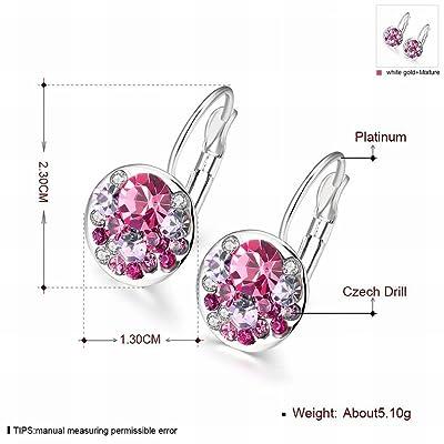 MOMO une Paire de Dames K Or Fashion Brillant Et Coloré Boucles D'oreilles Rondes Bleu Petites Boucles D'oreilles Exquis / Élément de Cristal