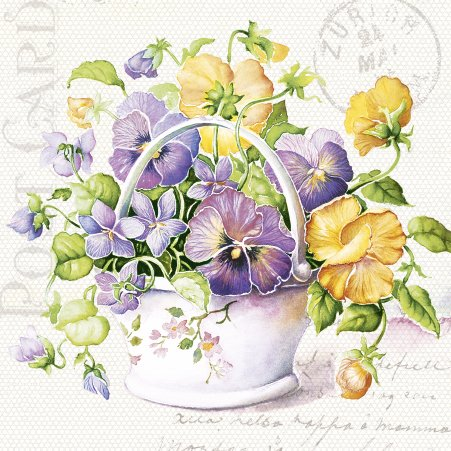 Paper Luncheon Napkins Flower Letter Yellow and Purple Pansies - Napkin Flower Pot