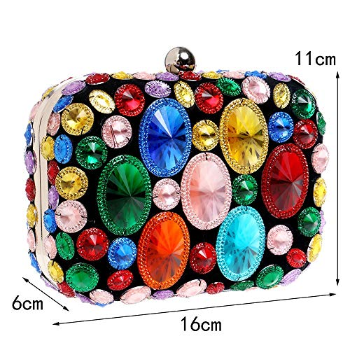 Dress Maybesky Party Clutch Dinner women Bag Diamond colored Bridesmaid girl Shiny lady Ladies' Multi x1x4qf