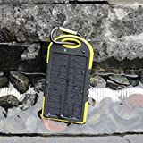 Compact Eco-Friendly Solar Charger by EStar Goods 5000 mAh solar power bank (Yellow) w/hidden dual USB/micro charging ports, fit for charging multiple devices