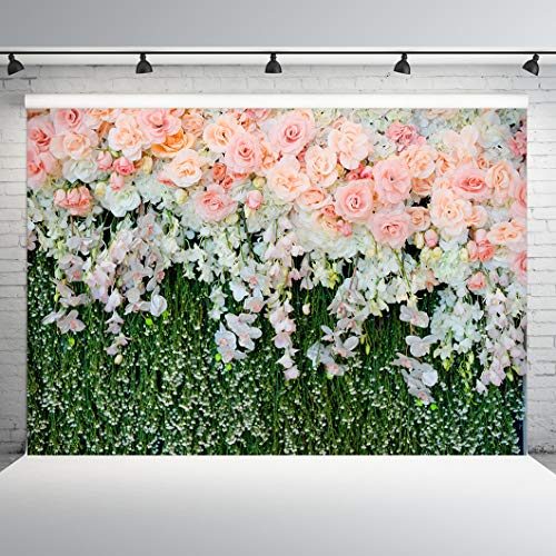 Dobeans 20ft(W) x 10ft(H) Photography Backdrops Flower Photo Background Pink Floral Backdrop for Wedding Bridal Shower Decoration