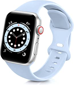 ZALAVER Bands Compatible with Apple Watch Band 38mm 40mm 42mm 44mm, Soft Silicone Sport Replacement Band Compatible with iWatch Series 6 5 4 3 2 1 Women Men Light Blue 38mm/40mm S/M