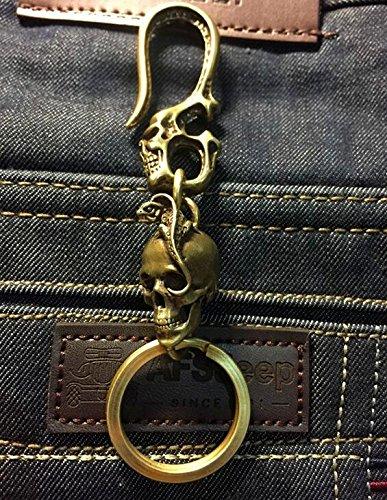 Key Fob Skull (Retro Collectable Solid Brass Punk Lizard Skull Fob Pants Hooks Keychain Key Ring)