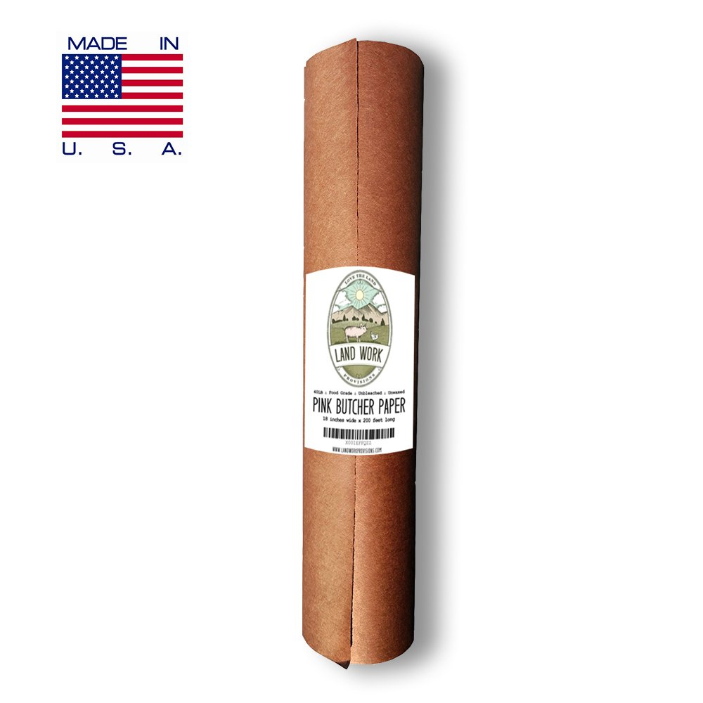 Pink Butcher Paper Roll 18'' X 200' FEET, Kraft Wrapping Paper for Beef Briskets - Made in USA - FDA Food Grade BBQ Meat Smoking and Cooking Paper - Unbleached Unwaxed Uncoated