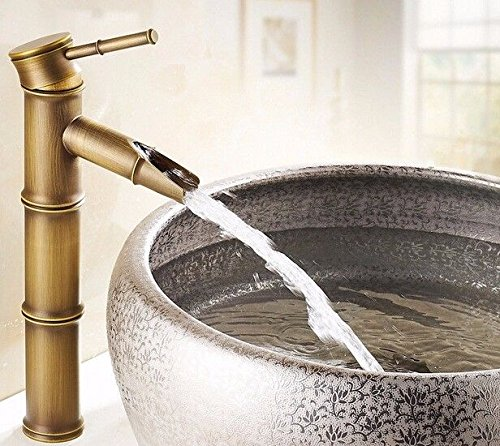 IJIAHOMIE Waschtischarmatur Badarmatur Wasserhahn Bad,Wassersparfunktion,Wasserfall Wasserhahn Kupfer